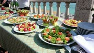 Stock Video Footage of Red caviar sandwich, holiday table, buffet