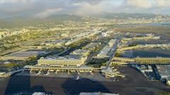 Aerial view Honolulu International Airport, Hawaii Stock Footage