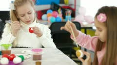 Children painted Easter eggs Stock Footage