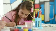 Stock Video Footage of Little Girl Painting