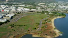 Aerial view of modern coastal highway, Honolulu, Hawaii Stock Footage