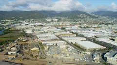 Aerial view commercial suburbs, Honolulu, Hawaii Stock Footage