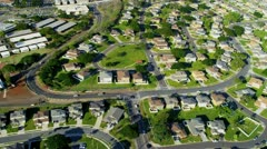 Aerial view of homes in the suburbs, Honolulu, Hawaii Stock Footage
