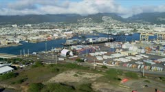 Aerial view Container Docks, Honolulu, Hawaii Stock Footage