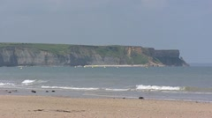 Cliffs at Arromanches, D-Day Gold Beach, Omaha Beach Stock Footage