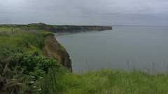 Cliffs at Normandy coast, Omaha beach, view from Pointe du Hoc Stock Footage