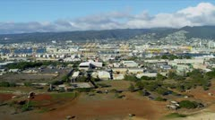 Aerial view commercial properties, Honolulu, Hawaii Stock Footage