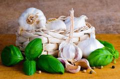 garlic and basil - stock photo