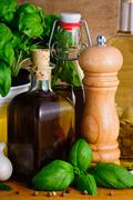 olive oil, herbs and spices - stock photo