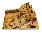 Stock Illustration of an opened old book with  curl a picture western wall,temple mount, jerusalem.