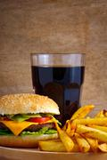 hamburger menu with fries and cola - stock photo