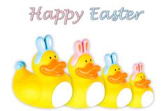 rubber ducky boy and girl easter bunnies - stock photo