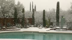 Snowing On Swimming Pool Stock Footage