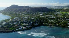 Aerial view of Diamond Head, Hawaii Stock Footage