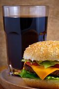 Stock Photo of cheeseburger and cola