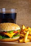 cheeseburger menu - stock photo