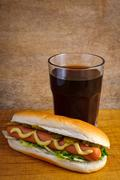 hotdog and cola - stock photo