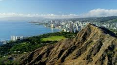 Aerial view of Diamond Head, Hawaii Stock Footage