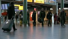 People at Amsterdam Schiphol airport Stock Footage