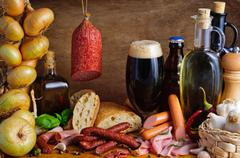 Stock Photo of traditional sausages and beer