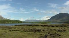 Irish landscape - pan  surrounding quartzite mountains Twelve Pins Stock Footage