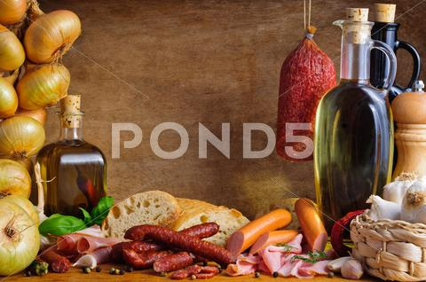 Stock photo of traditional meat and sausages