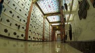 Stock Video Footage of Low Angle Mausoleum Hall With Stained Glass Ceiling