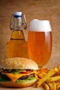 hamburger menu with beer - stock photo