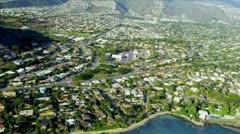 Aerial view of coastal luxury homes, Hawaii Stock Footage