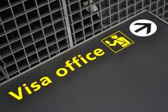 Visa office direction sign, immigration, travel diversity. Stock Photos