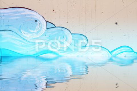 Stock Illustration of graffiti reflection in the water, artistic clouds