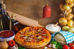 Salami pizza Stock Photos
