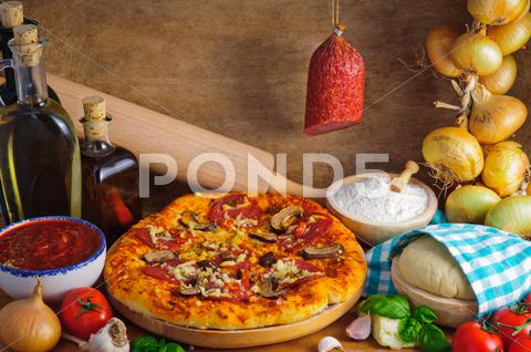 Stock photo of salami pizza