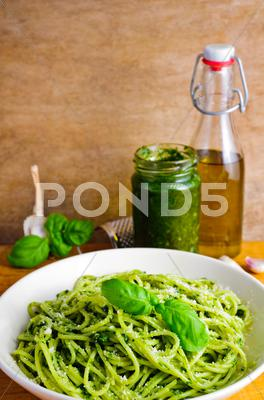 Stock photo of pasta with basil pesto