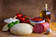 Homemade pizza ingredients Stock Photos