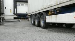 Truck entering cargo bay - stock footage