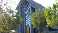 Stock Video Footage of Rose Hills Memorial Park SkyRose Chapel Front Close Up
