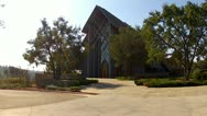 Stock Video Footage of Rose Hills Memorial Park SkyRose Chapel Front With Walkway