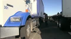 Semi truck, big rigs,driver Stock Footage
