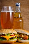fast food and beer - stock photo