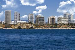 beautiful coastline with buildings - stock photo