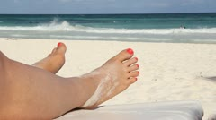 Beach feet. Stock Footage