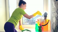 Cleaning a window Stock Footage