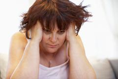 Depressed Overweight Woman - stock photo