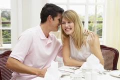 Young Couple Enjoying Hotel Meal - stock photo