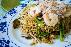 asian style noodle with pork and shrimp - stock photo