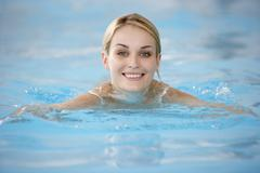 Young Woman Swimming In Pool Stock Photos
