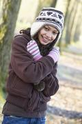 Young Girl On Autumn Walk Stock Photos