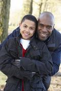 Father And Son On Autumn Walk - stock photo