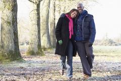 Couple On Autumn Walk - stock photo
